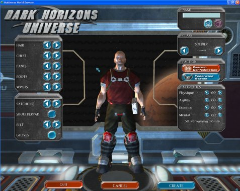 A screen shot of Dark Horizons Universe game using the Multiverse engine